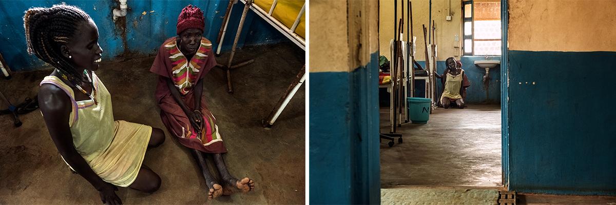 Atok et sa mère dans l'hôpital général d'Aweil.© Peter Bauza