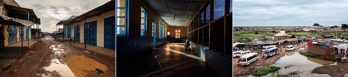 Vue des rues de la ville d'Aweil (g), des couloirs de l'hôpital général et de l'arrière-cour de l'hôpital.© Peter Bauza