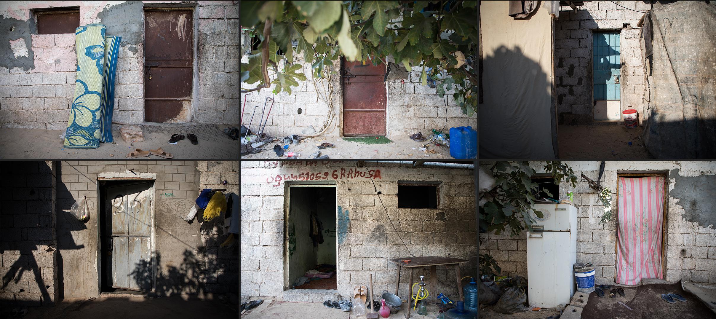 Derrière chacune de ces portes vivent 15 personnes, dans une pièce de près de 10 mètres carré. Le loyer total de la pièce s'élève à 150 dinars, soit 10 dinars par personne.Quartier d'Arouba. Misrata.