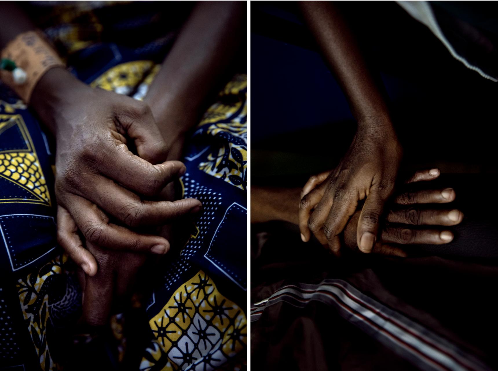 Mains de patientes, prises en charge à l'hôpital communautaire de Bangui, novembre 2020. Crédit : Adrienne Surprenant/Collectif Item
