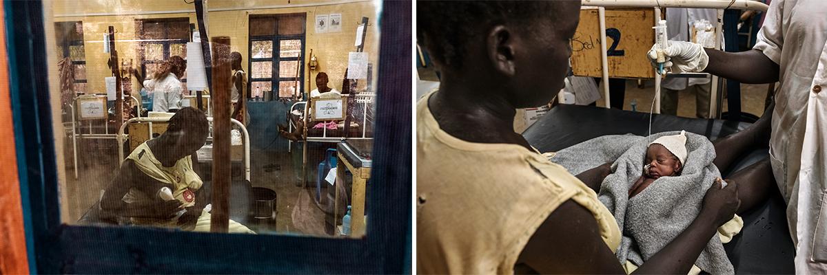 Achol et son enfant, né prématurément, dans l'hôpital général d'Aweil.© Peter Bauza
